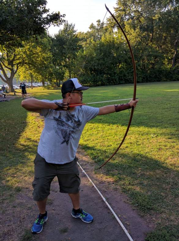 Tony with a longbow
